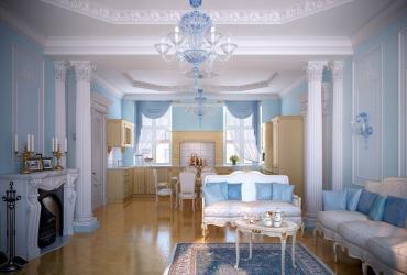 Дизайн кімнати з гіпсовими колонами
